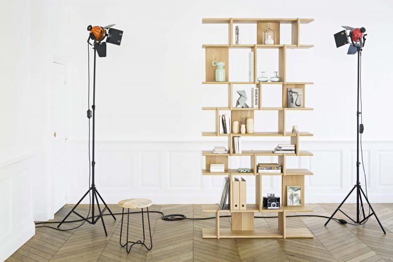 Tana bibliothèque sur-mesure en bois massif