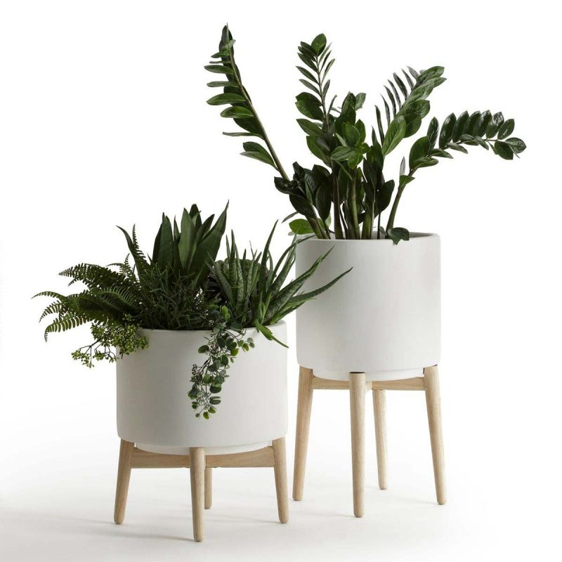 Cache pot design blanc par am pm for Pot plantes interieur