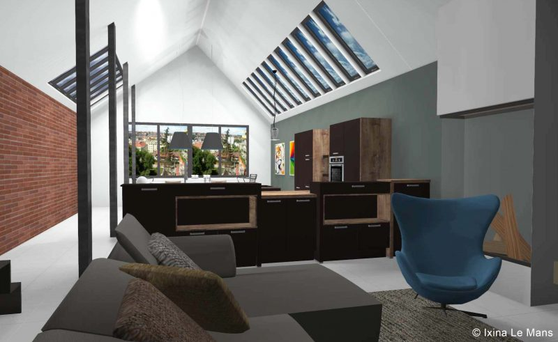 Cuisine Ixina en 3D dans un loft