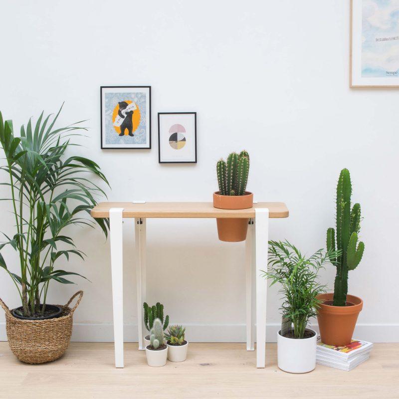 Console avec emplacement pour pot de fleur