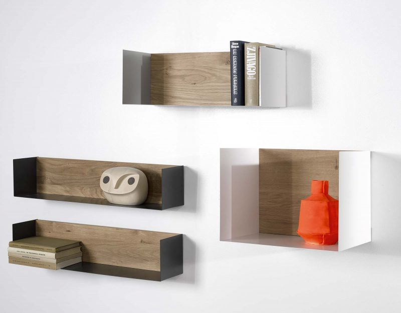Tablette étagère en bois et métal par Universo Positivo