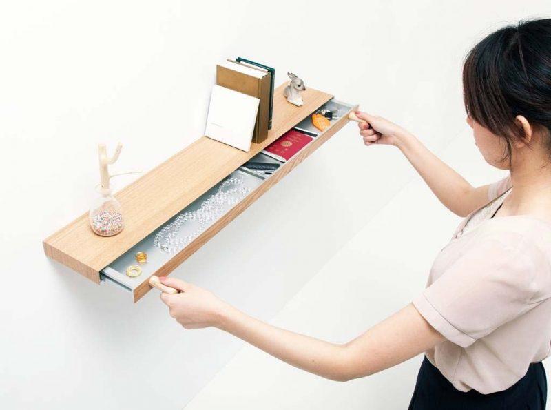 Tablette murale avec tiroir