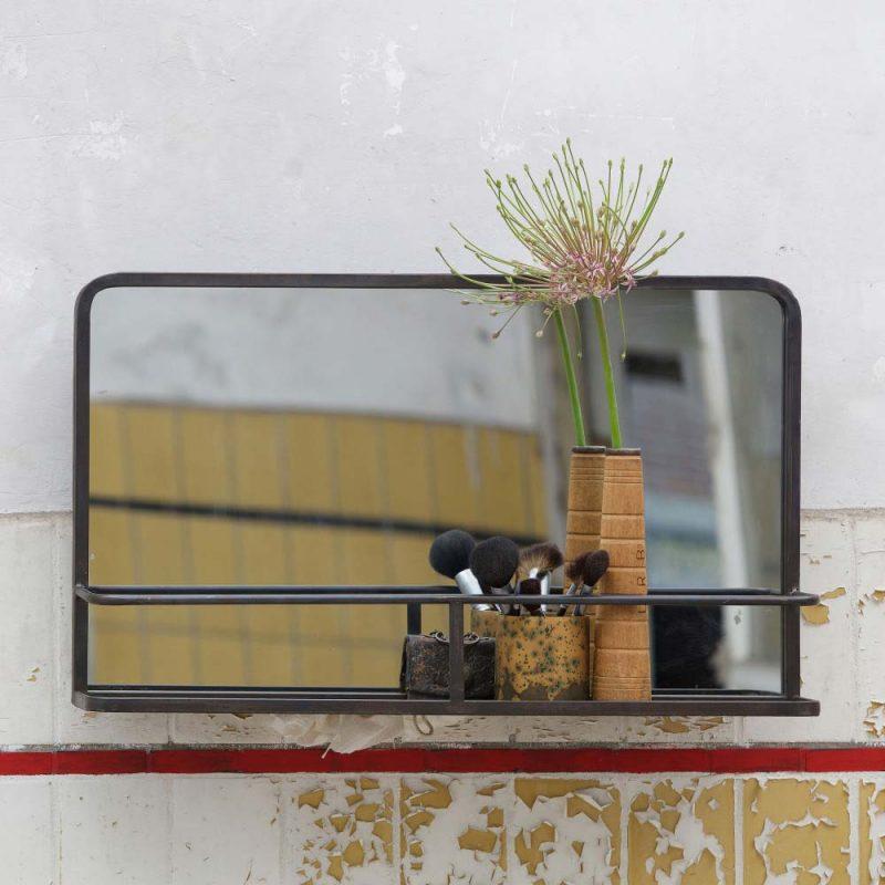 Miroir avec rangement en metal noir