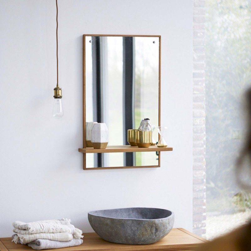 Miroir avec tablette en bois