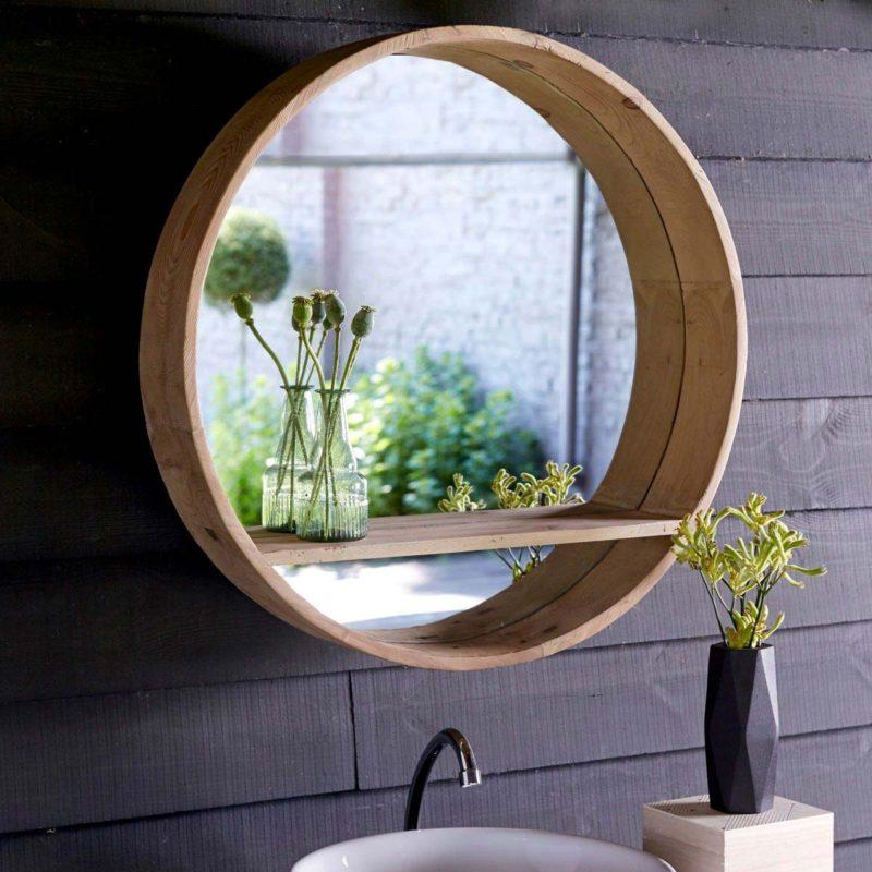 Miroir rond avec tablette