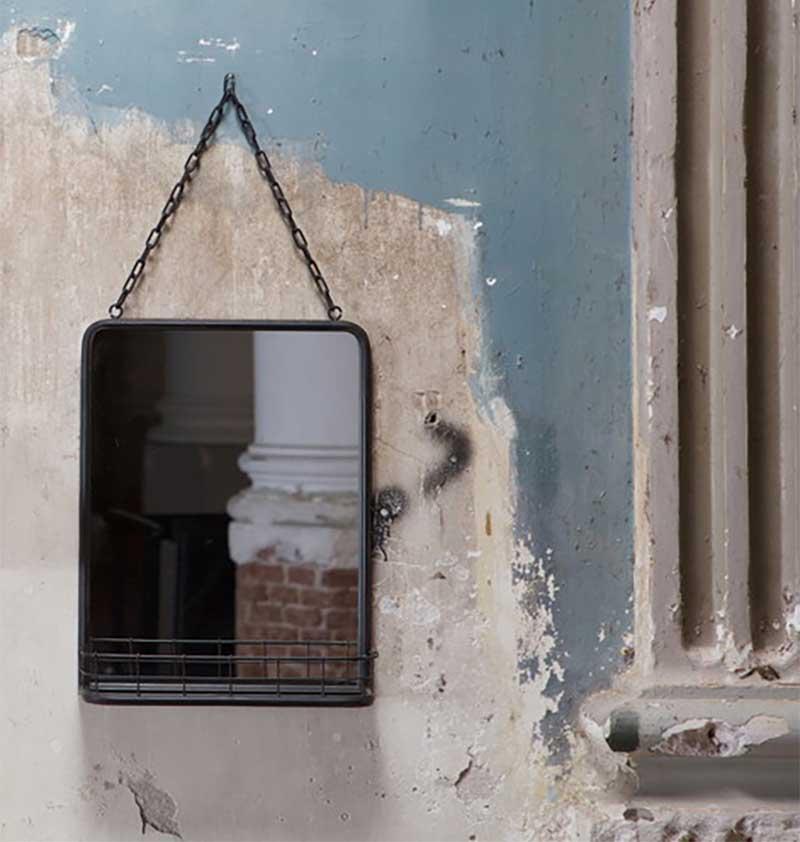Miroir avec étagère en métal pour salle de bains