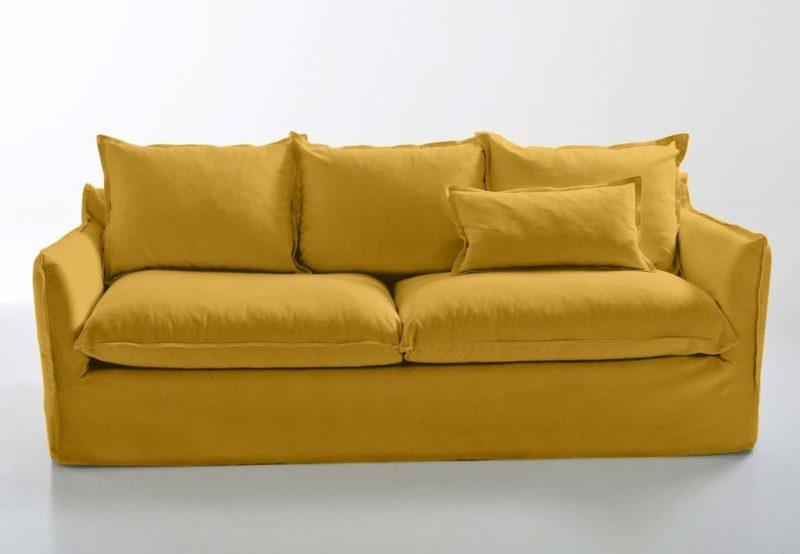 Canapé jaune en lin La Redoute