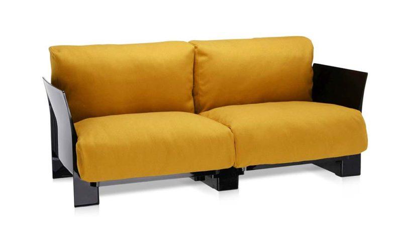 Canapé noir et jaune