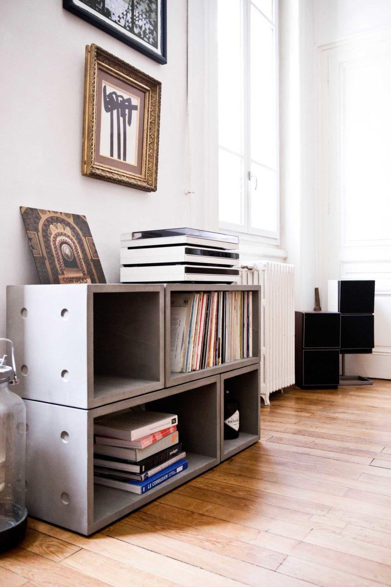 Meuble disques vinyles modulable beton