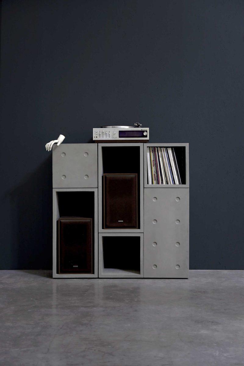 Meuble disques vinyles modulable en béton