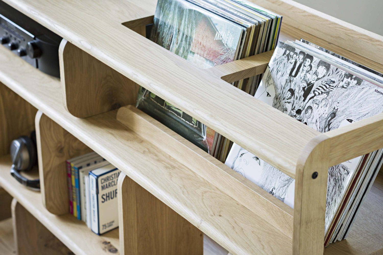 meuble pour disques vinyle en ch ne. Black Bedroom Furniture Sets. Home Design Ideas