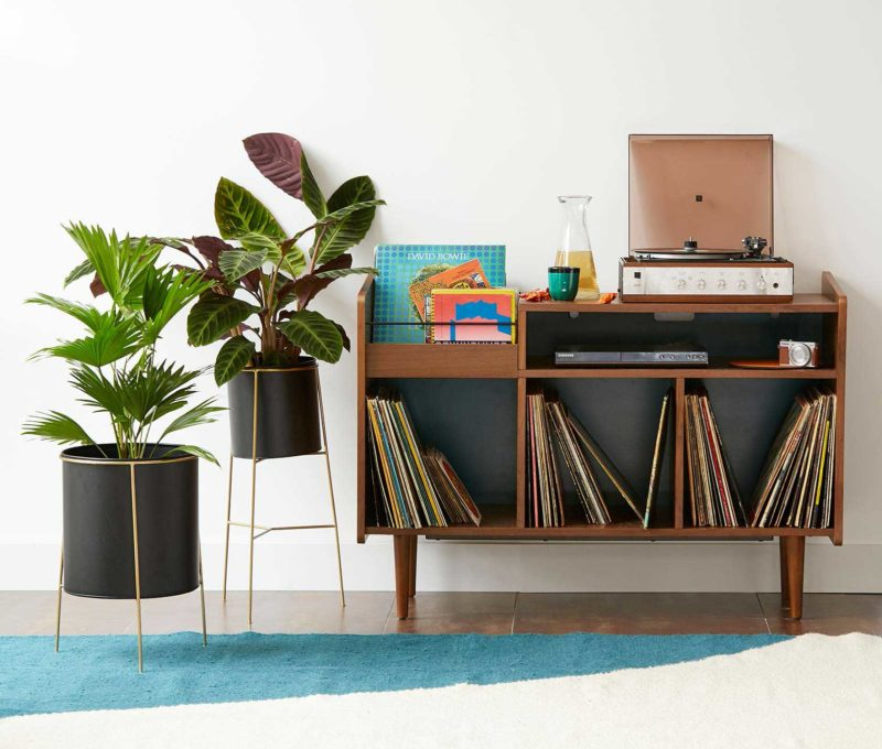Meuble pour vinyles et platine esprit déco vintage