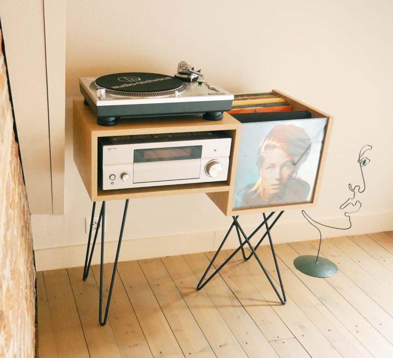 Meuble pour 100 vinyles fabriqué en France