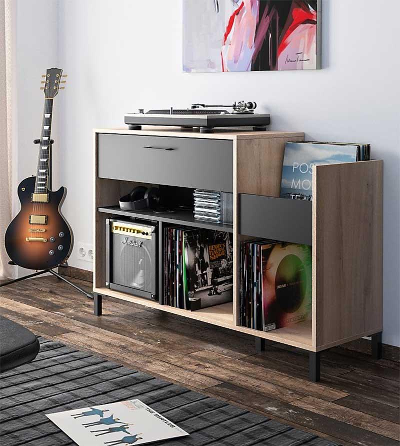 Meuble vinyles noir et bois clair