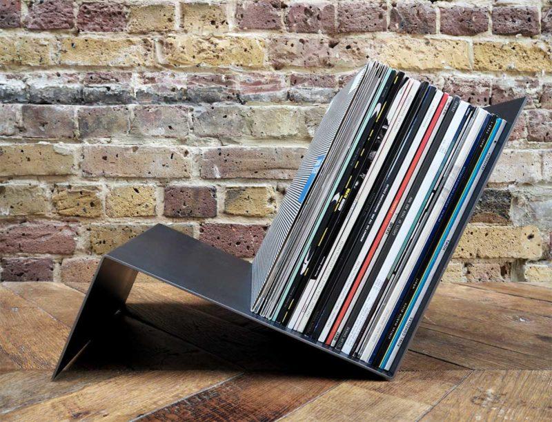 Rack à disques vinyles en métal