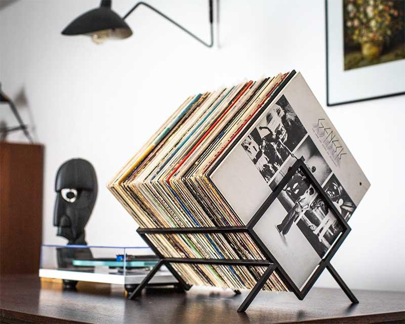 Support pour vinyles en métal