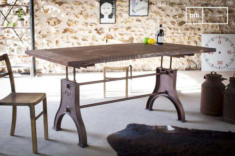 Table industrielle avec pieds en fonte hauteur ajustable