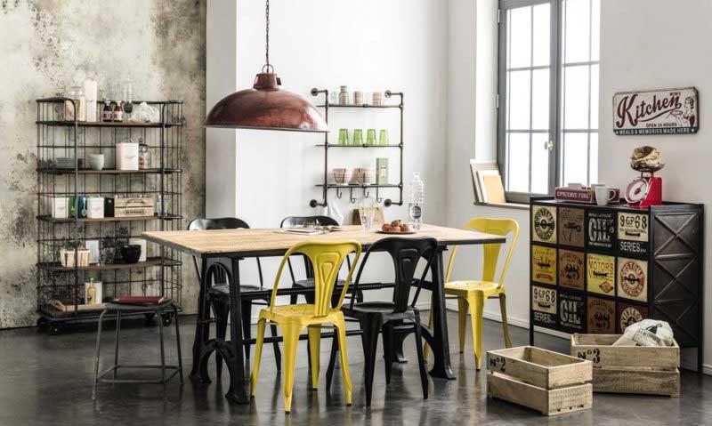 table industrielle 14 id es d co pour associer m tal et bois. Black Bedroom Furniture Sets. Home Design Ideas