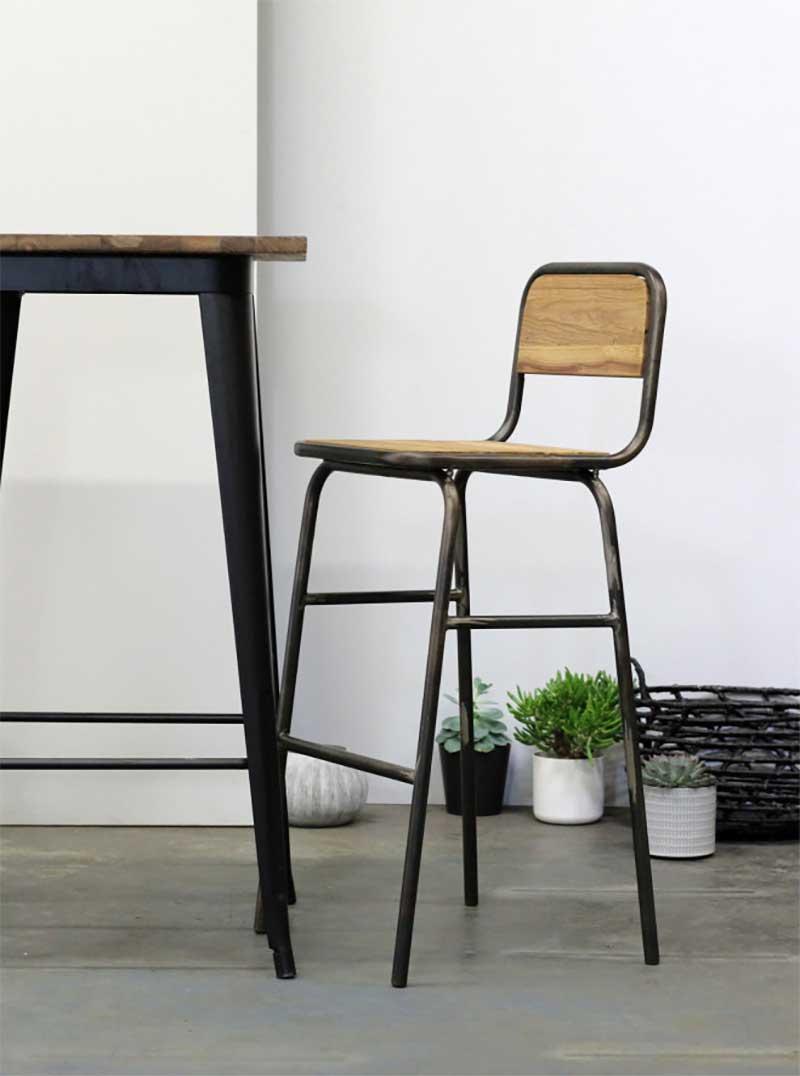 Chaise de bar en métal et bois style industriel