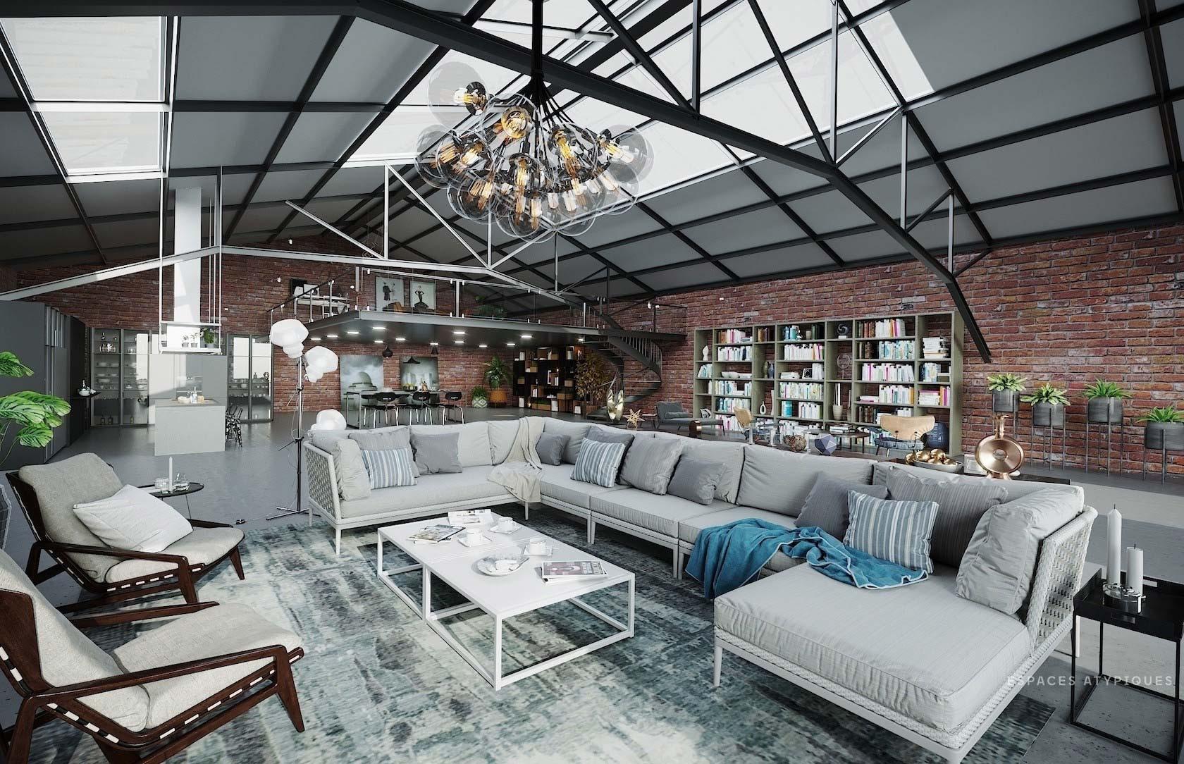 Projet de loft en 3D pour un plateau brut à Nantes