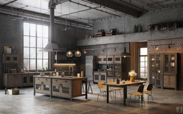 Loft industriel en 3d avec cuisine noir et bois
