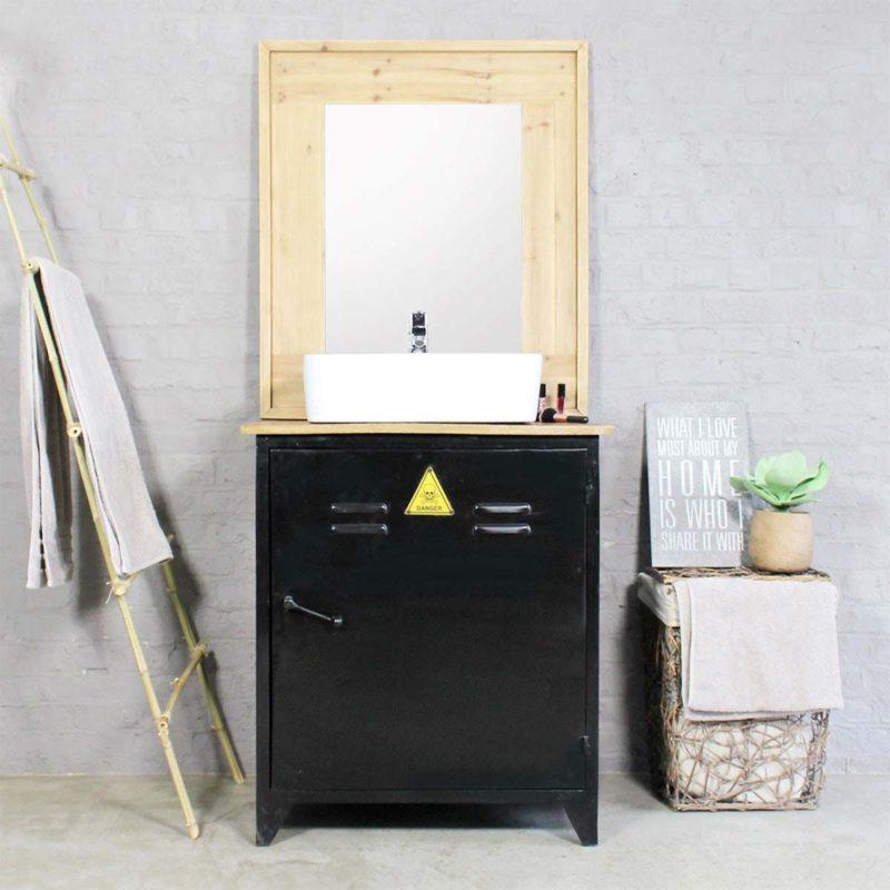 Meuble de salle de bains industriel en métal noir