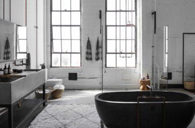 Meuble industriel de salle de bains en métal et béton