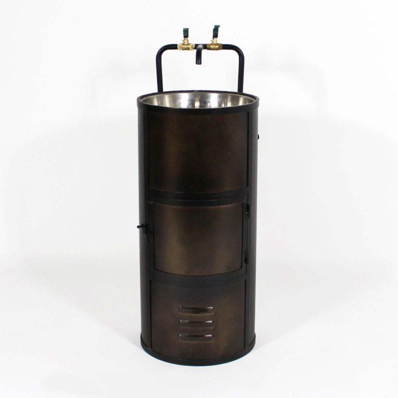 Meuble vasque baril metal