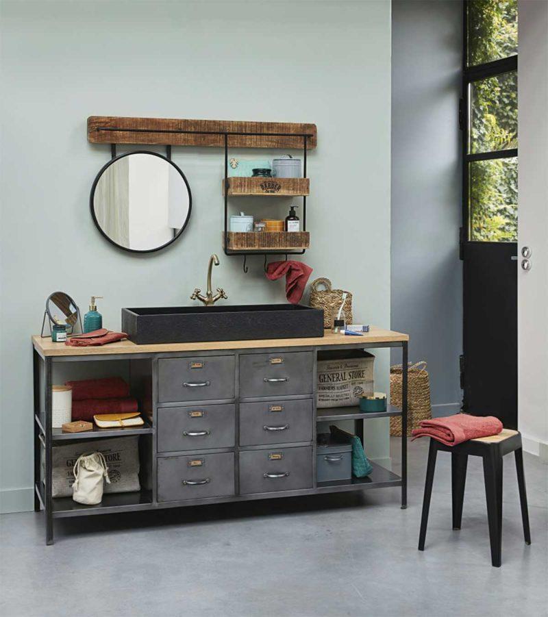 Meuble de salle de bains en metal avec tiroirs et plateau bois