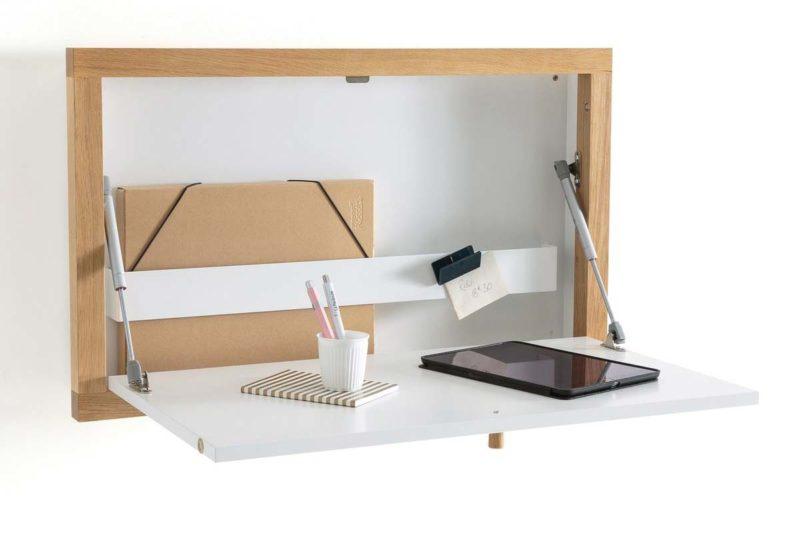 Bureau mural rabattable blanc bois