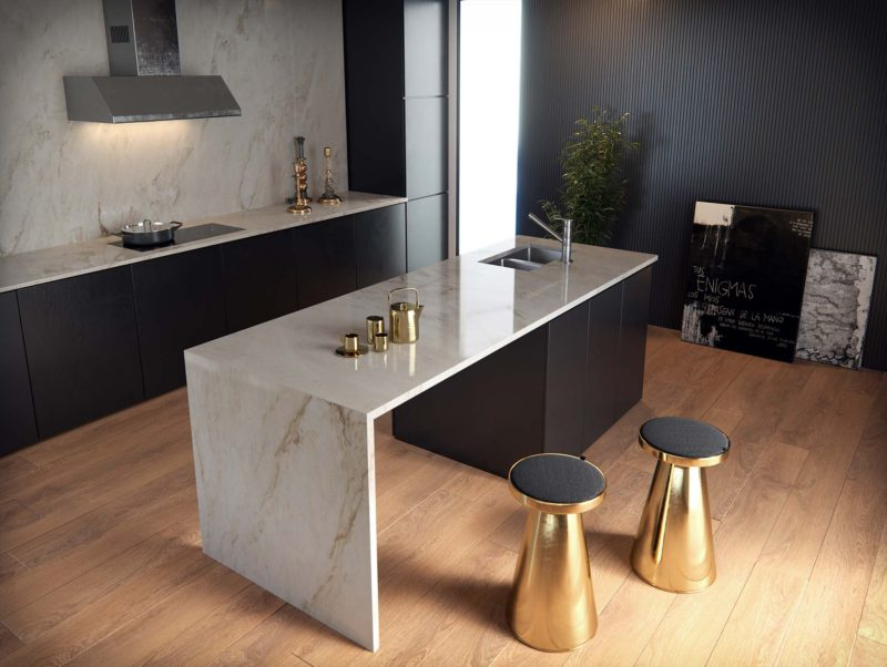 cuisine noire 19 inspirations et conseils pour faire le. Black Bedroom Furniture Sets. Home Design Ideas