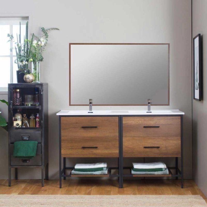 Meuble de salle de bains contemporain en métal et bois