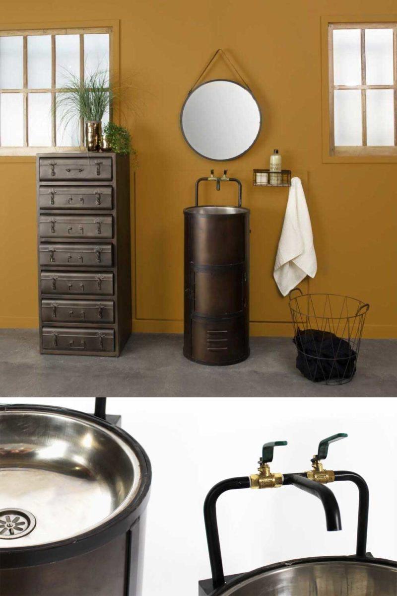 Meuble de salle de bains industriel en métal