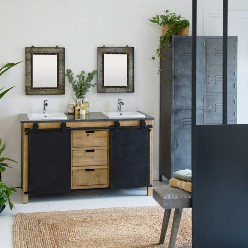 Meuble sous vasque style loft avec portes coulissantes