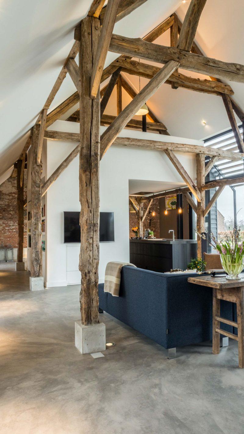 Loft avec charpente en bois