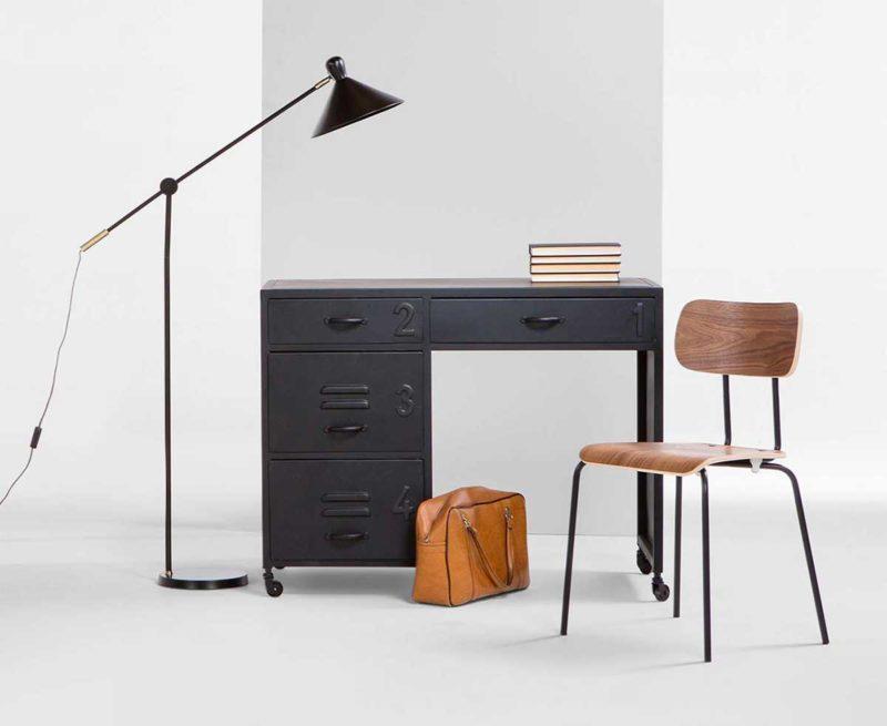 Bureau style industriel idées déco en bois et métal