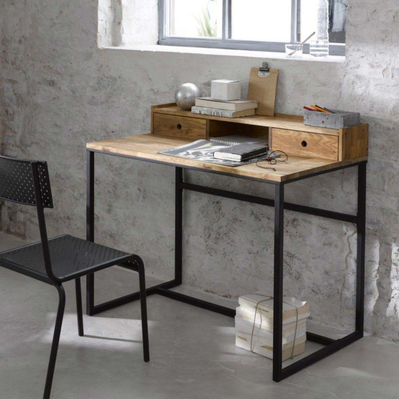 bureau industriel 14 id es d co en bois et m tal. Black Bedroom Furniture Sets. Home Design Ideas