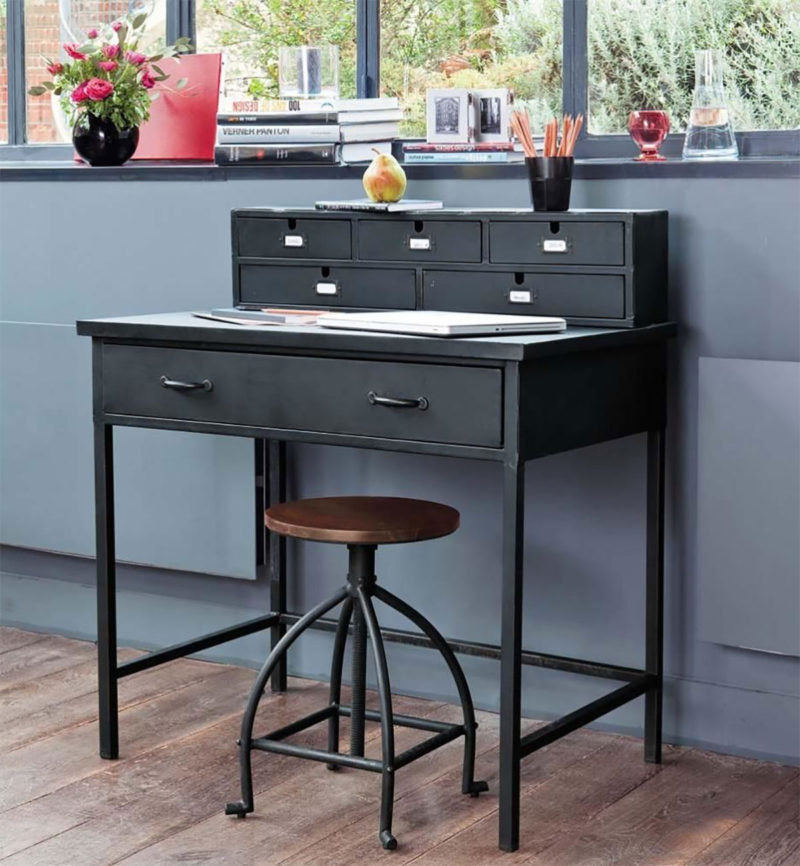 bureau style industriel 12 id es d co pour am nager un espace de travail. Black Bedroom Furniture Sets. Home Design Ideas