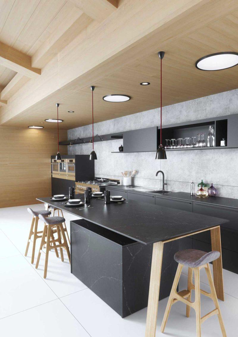 Cuisine avec finition marbre noir Silestone