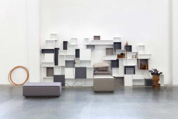 Grande étagère cube blanche et grise