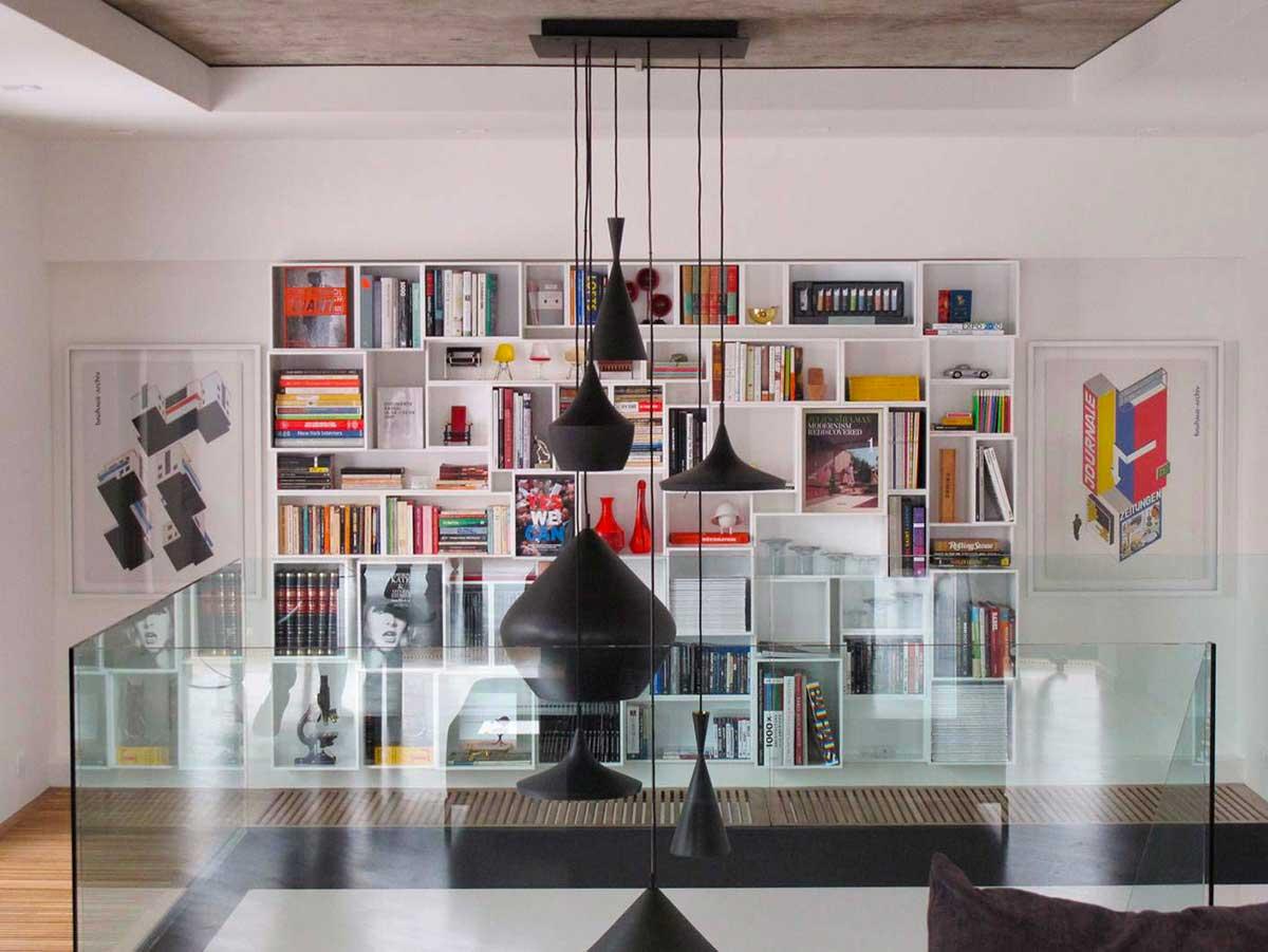 Bibliothèque cube blanche au design moderne
