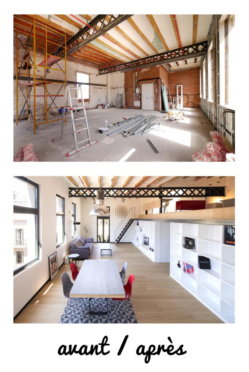 Avant / Après d'un plateau brut transformé en loft