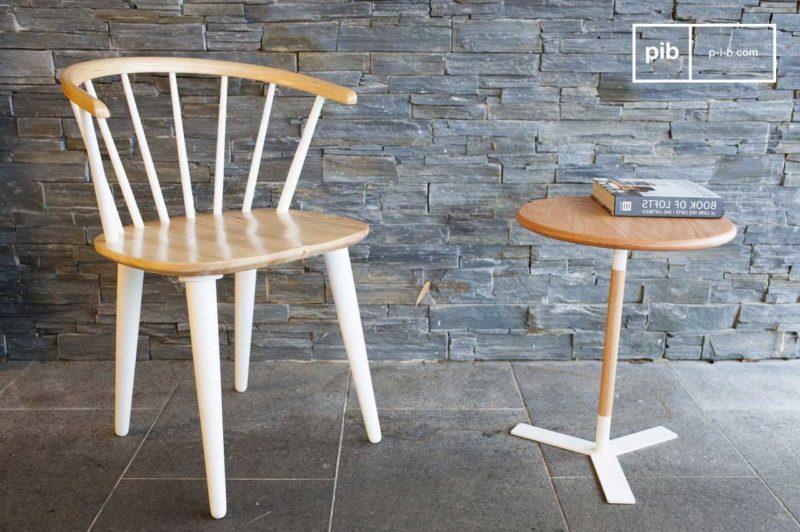 Chaise scandinave bicolore bois et blanc