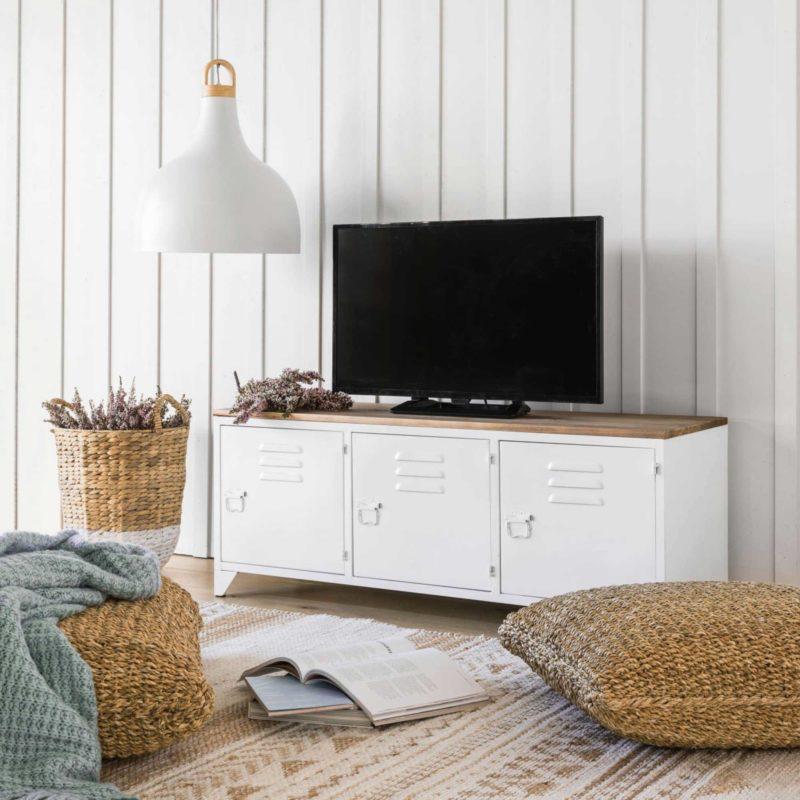 Meuble tv industriel blanc avec plateau en bois