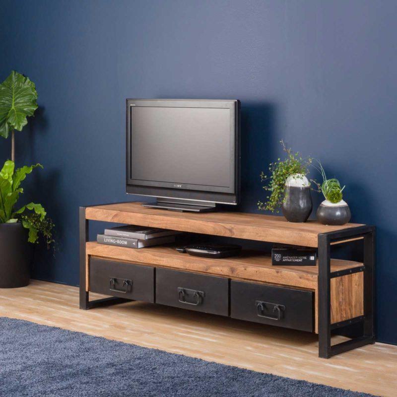 Meuble TV industriel en bois avec tiroirs en métal