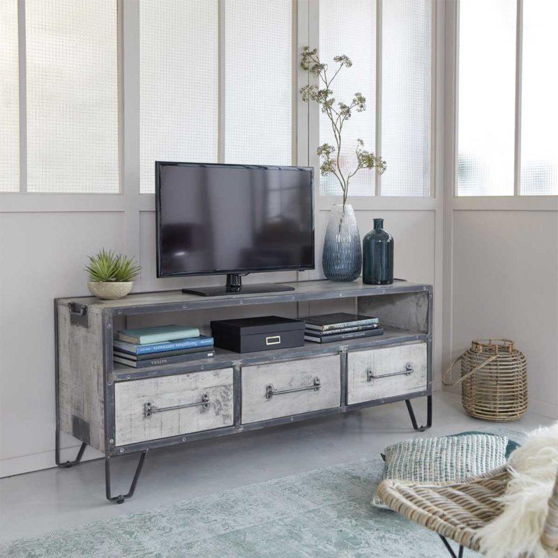 Meuble TV industriel gris