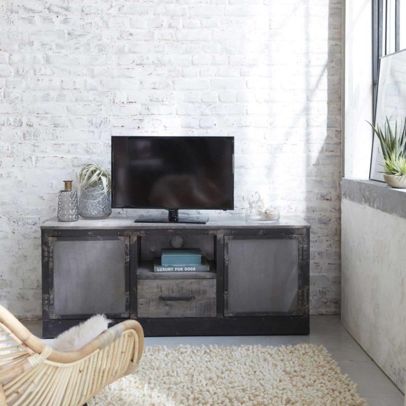 Meuble tv industriel gris en métal