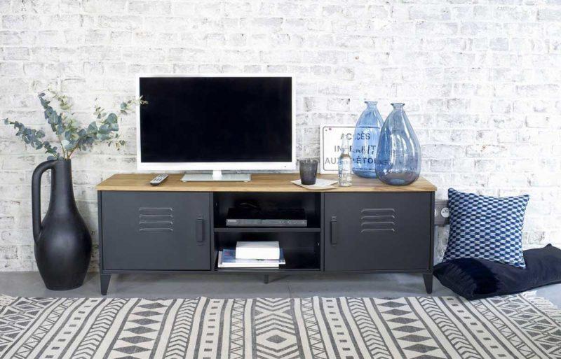 Meuble tv industriel en métal et bois