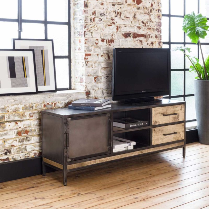 Meuble TV industriel en tube métallique