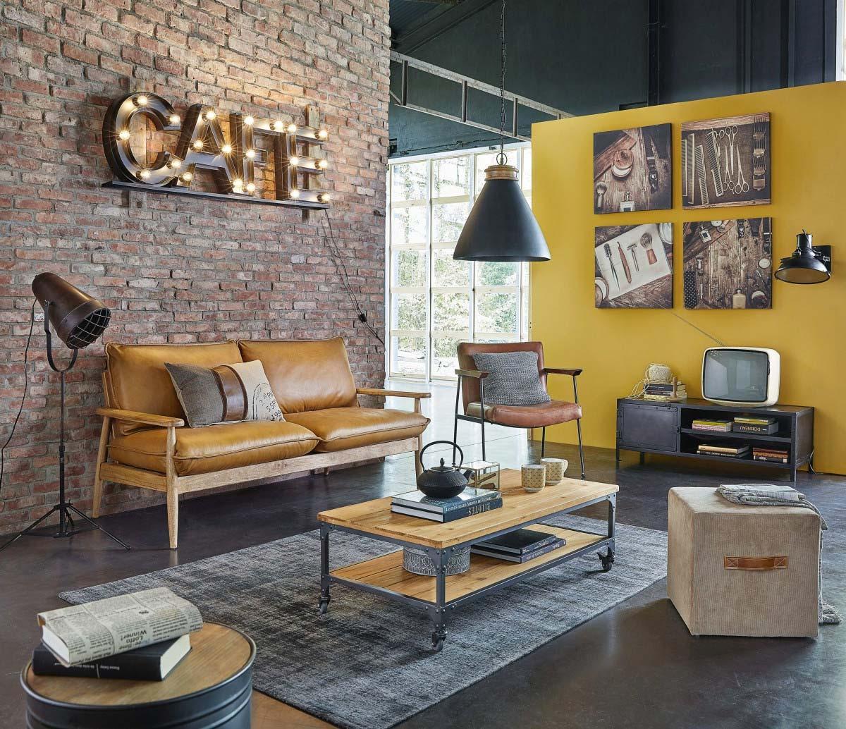 Meuble Tv Table Basse Assorti meuble tv industriel : 21 modèles pour la déco du salon